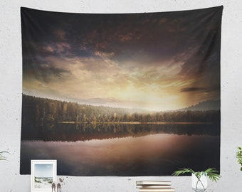 Enchanting Nature Tapestry, lake dorm wall hanging, colorful sunset bedroom wall decor, boho and wanderlust living room decor