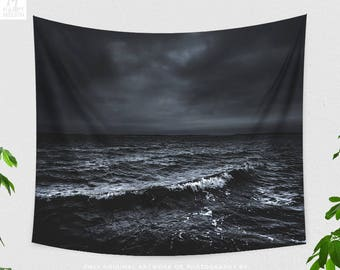 Dark Ocean Tapestry, epic dorm wall hanging, moody bedroom wall decor and emotional nautical living room wall art.