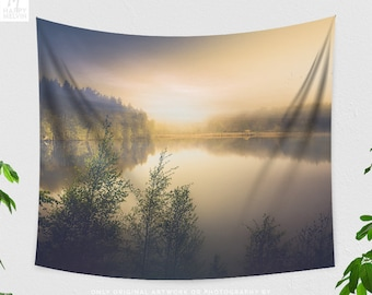 Lake Wall Tapestry, nature bedroom wall tapestry, wanderlust dorm and living room wall hanging and wall art, landscape wall decor.