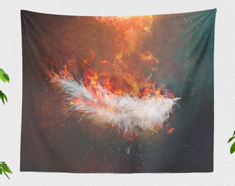 Icarus Wall Tapestry, fairy tale living room wall decor, large poetic dorm and bedroom wall hanging, feather wall art
