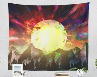 Colorful Wanderlust Tapestry, spiritual tapestry, dorm and bedroom decor and boho living room decor making a statement.
