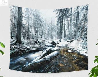 Snowy Forest Tapestry, nature tapestry, large wall art and wall decor, boho living room decor making a statement. dorm and bedroom decor.