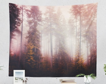 Fog Forest Tapestry, tranquil wall tapestry, large colorful wall decor and wall art, wanderlust dorm room and bedroom wall hanging.