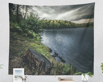 Stormy Lake Wall Tapestry, large bedroom nature wall hanging, wanderlust dorm and living room wall decor and wall art