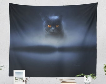 Spooky Cat Wall Tapestry, halloween tapestry, cat wall decor and wall art making a unique dorm and bedroom and living room decor statement.