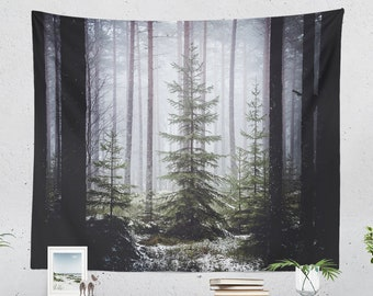 Pine Trees Tapestry, forest wall tapestry, wanderlust dorm and bedroom wall hanging, nature living room wall decor and wall art.