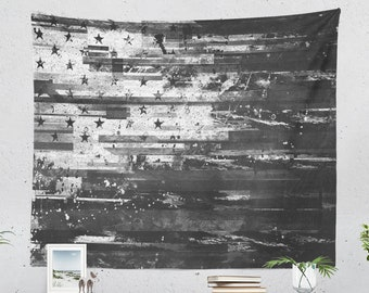 American Flag Tapestry, USA wall tapestry, large wall decor and black and white wall art.