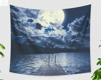 Lake And Moon Tapestry, dreamy dorm wall hanging, large blue bedroom wall decor, boho living room decor.