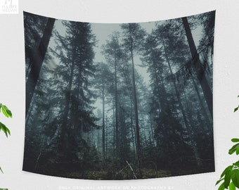 Dark Fog Forest Tapestry, dorm nature wall decor, large spooky woods living room wall hanging, boho wanderlust bedroom wall art.