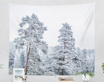Frozen Forest Wall Tapestry, woodland wall hanging, large nature dorm wall decor, boho wanderlust living room decor, bedroom wall art