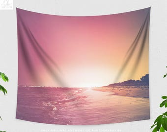 Summer Tapestry, dorm beach and nature wall hanging, colorful living room and bedroom wall decor