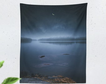Magical Night Tapestry, lake wall tapestry, large nature wall decor and wall art, wanderlust dorm room and bedroom wall hanging.