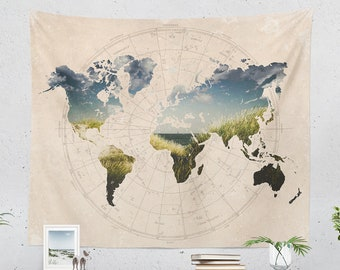 World Map Tapestry, wanderlust wall tapestry, adventure wall decor making a unique dorm and bedroom decor and living room decor statement.