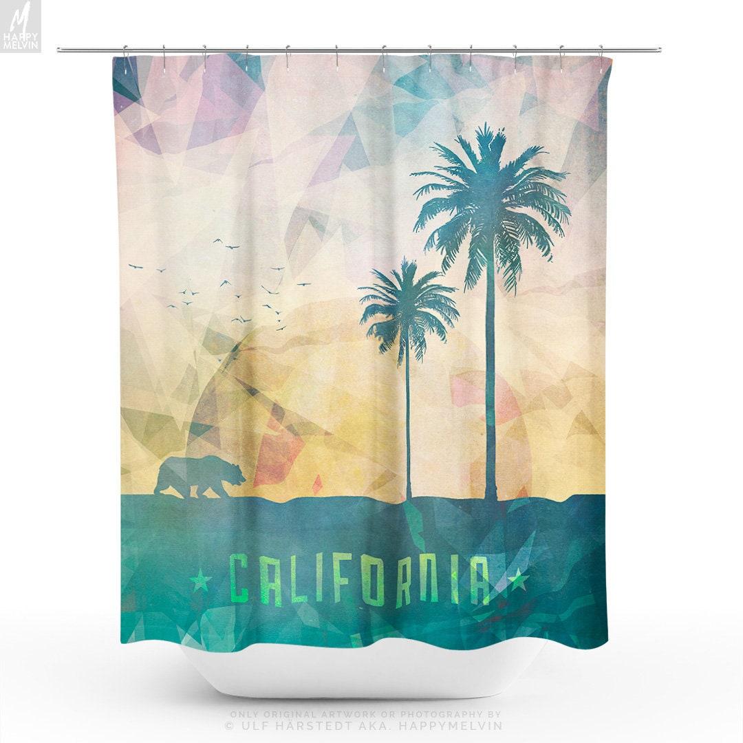 Shower Curtain With Californian Art California Decor