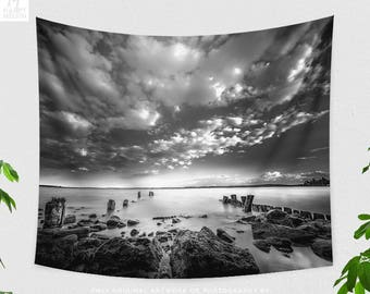 Seaside Wall Tapestry, black and white wall decor, nautical living room decor making a beautiful statement. dorm and bedroom wall hanging