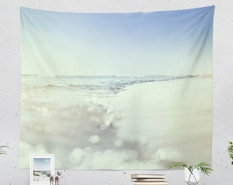 Ocean Wave Tapestry, beach dorm wall tapestry, positive vibe bedroom wall hanging, summer living room wall art and wall decor.