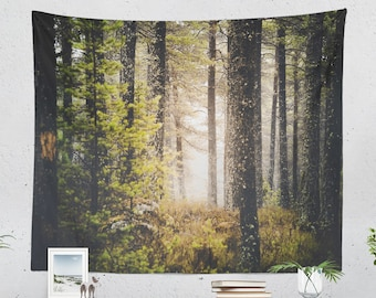 Magical Woods Wall Tapestry, bedroom forest wall art, nature adventure dorm wall hanging, large wanderlust living room wall art
