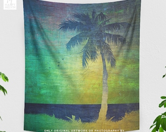 Tall Palm Tree Tapestry, dorm beach art wall hanging, summer living room and bedroom wall decor and wall art