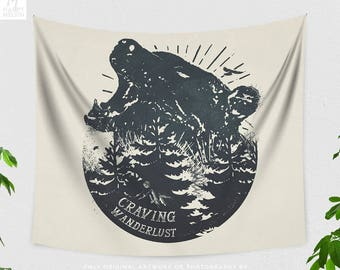 Wanderlust Bear Tapestry, nature art tapestry, dorm and bedroom decor and boho living room decor making a adventure statement.