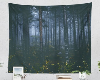Spooky Forest Tapestry, woods wall hanging and nature wall tapestry, large dorm wall decor, unique bedroom and living room decor.