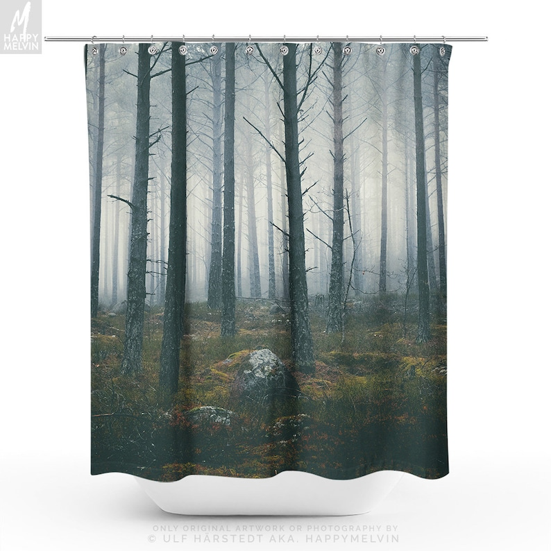 Spooky Forest Shower Curtain Woods Bathroom Boho