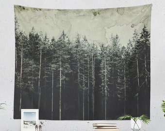 Vintage Forest Tapestry, wanderlust wall hanging, large dorm wall decor, woodland wall art, rustic theme bedroom and living room decor.