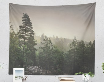Large Dorm Forest Tapestry, living room nature wall hanging, woods and wanderlust bedroom wall decor and wall art