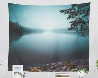 Dreamy Lake Tapestry, nature tapestry, large wanderlust wall art and wall decor making a dreamy statement.