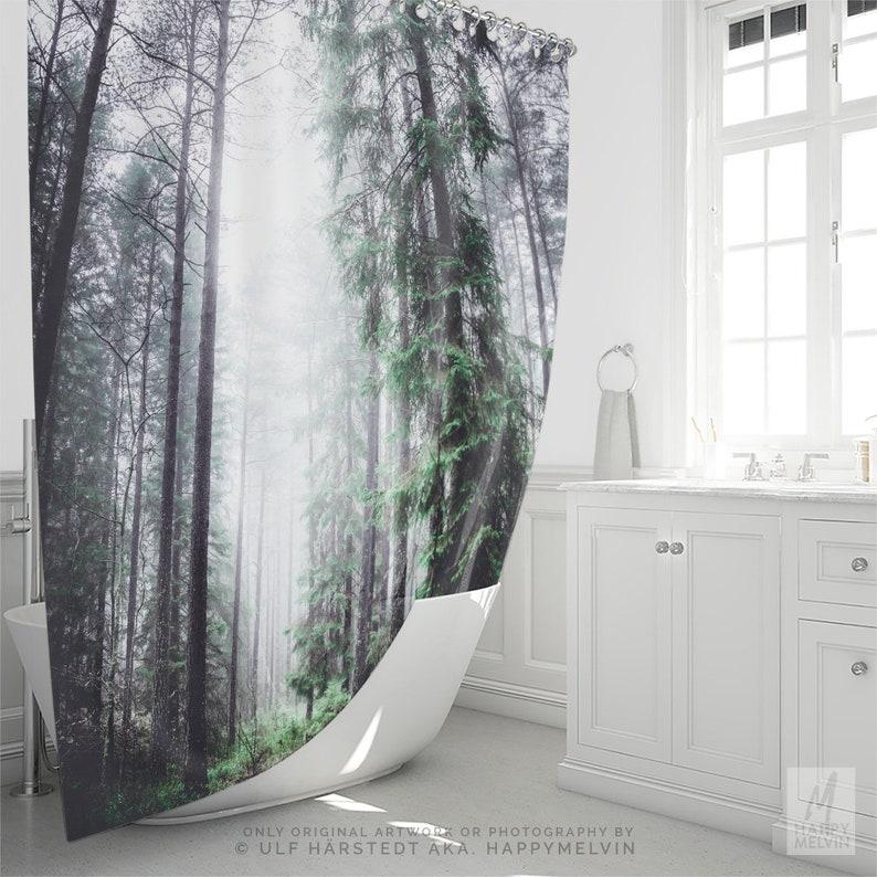 Enchanted Woods Shower Curtain Forest Bathroom Boho