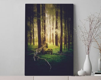 Glowing Forest Canvas Art, large nature wall art and wall decor, ready to hang living room canvas, colorful office wall hanging