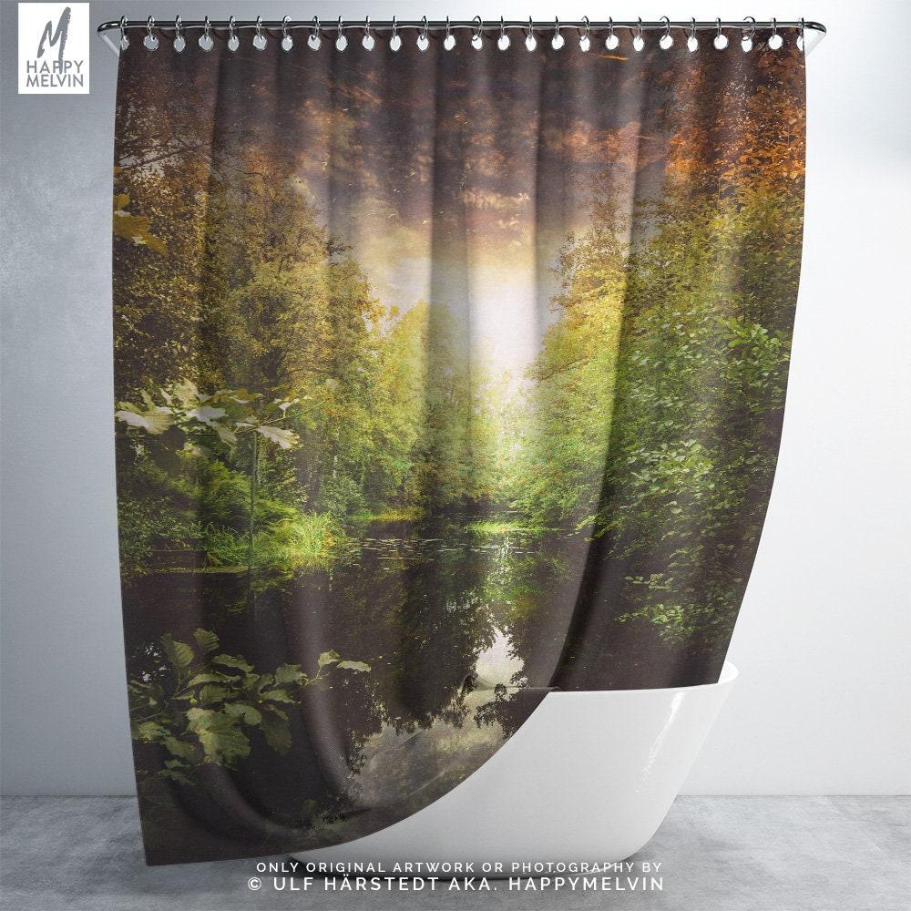 Forest River Shower Curtain Nature Bathroom Boho