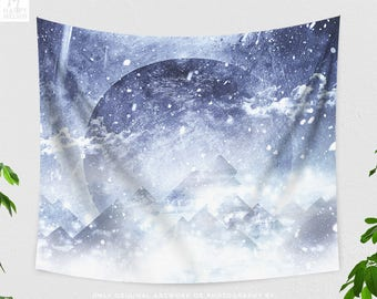 Snowy Mountain Tapestry, abstract moon wall hanging, dorm and bedroom wall decor, large boho living room wall art