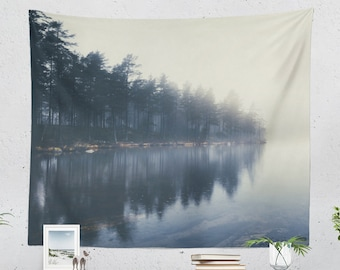 Misty Nature Tapestry, wanderlust dorm art, large boho wall hanging, tranquil lake scenery bedroom and living room wall decor