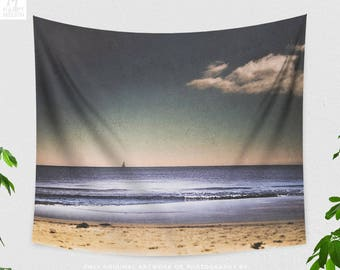 Beach Side Tapestry, ocean and nature dorm wall decor, large bedroom and living room nautical wall hanging