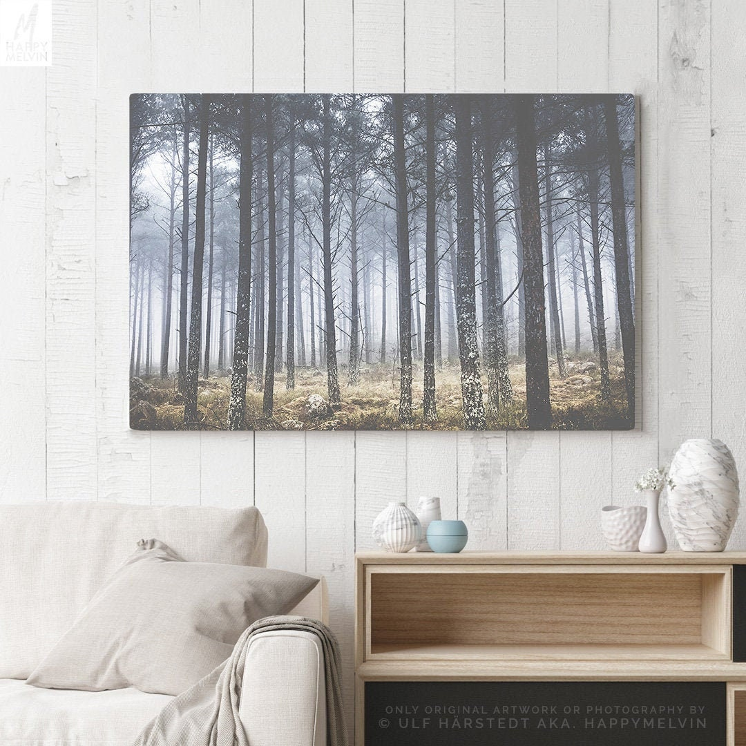 Rustic Canvas Wall Art.Faded Forest Canvas Art Vintage Wall Decor Modern Canvas
