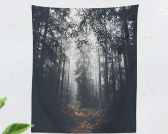 Spiritual Forest Wall Tapestry, pure wanderlust living room wall hanging, large nature dorm wall decor, boho bedroom wall art