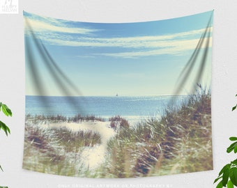 Dorm Beach Wall Tapestry, large summer bedroom wall hanging, vintage look living room wall decor and sea wall art