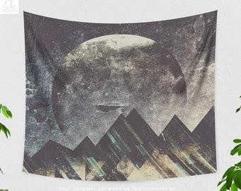 Abstract Moon Tapestry, boho dorm mountain wall hanging, large bedroom wall decor, artsy living room decor and wall art