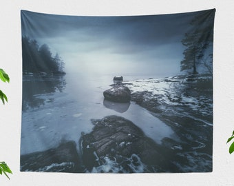 Mystic Landscape Tapestry, lake wall tapestry, dreamy wall decor and wall art making a unique dorm and bedroom and home decor statement.