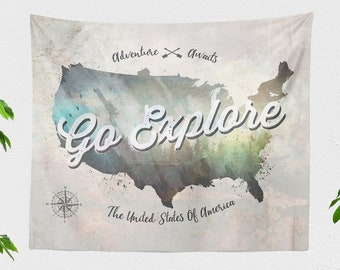 Map Wall Tapestry, travel tapestry, adventure wall decor making a unique dorm and bedroom room and living room decor statement.