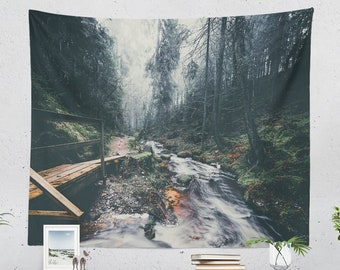 Wanderlust Wall Tapestry, forest tapestry, nature adventure dorm wall decor,bedroom and living room wall hanging.