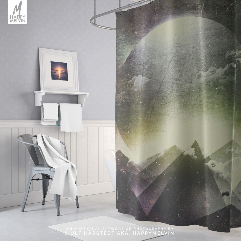 Artsy Moon Shower Curtain, Mountain Bathroom Decor, Artwork Shower ...