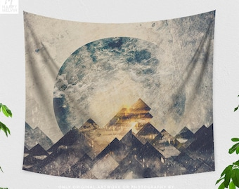 Abstract Boho Wall Tapestry, mountain tapestry, large wanderlust wall decor, dorm, bedroom and living room decor making a trendy statement.