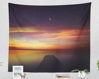 Dawn Tapestry, ocean wall tapestry, colorful large wall decor and wall art, wanderlust dorm room and bedroom wall hanging.