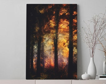 Glowing Forest Canvas Art, bedroom woodland wall art and wall decor, ready to hang living room canvas, large office wall art