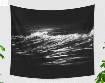 Wave Wall Tapestry, black and white wall decor, ocean dorm wall hanging, large minimalistic nautical living room and bedroom wall art