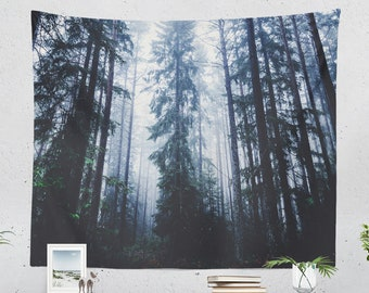 Dark Forest Wall Tapestry, pine trees tapestries, woods living room decor and dorm and bedroom decor making a unique statement