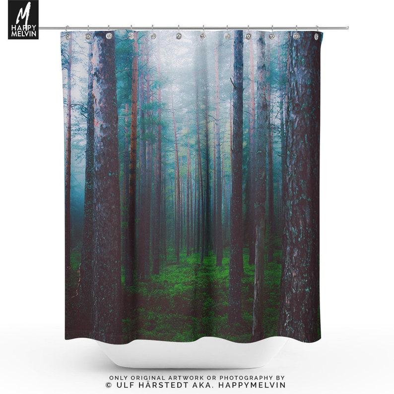 Misty Forest Shower Curtain Nature Bathroom Boho
