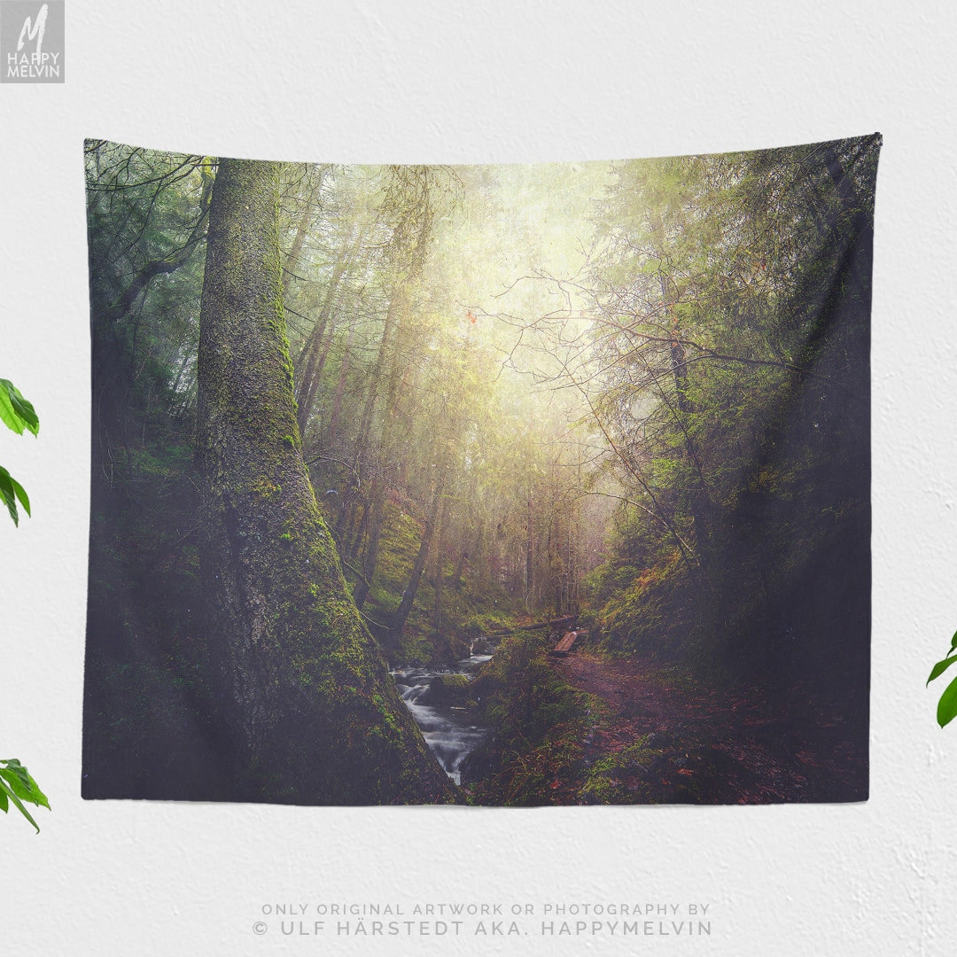Enchanted Forest Tapestry, nature wall tapestry, large wall art and