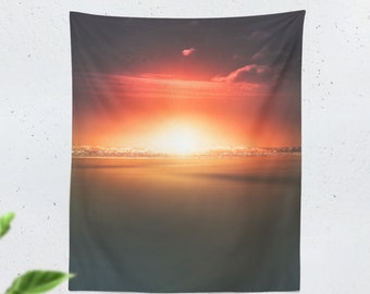Tall Vibrant Ocean Tapestry, nature wall tapestry, sea wall decor making a unique dorm and bedroom tapestry statement.